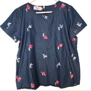 Floral Embroidered Denim Chambray Blouse 2X